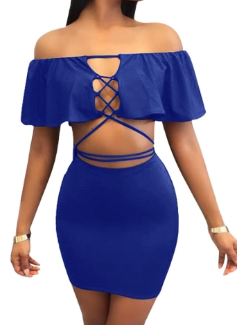 Off Shoulder Lace Up Mini Skirt Bodycon Casual Bandage Dress Night Club
