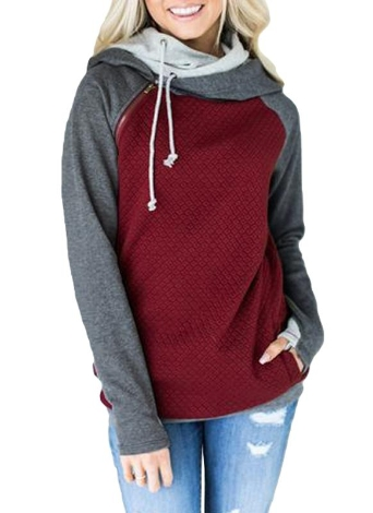 Fashion Women Hoodie Sweatshirts Contrast Color Long Sleeve Drawstring Casual Warm Pullover Hooded Tops