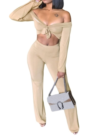 Two Pieces Off Shoulder Crop Top Bandage Bodycon Long Pants Slim Club Suits