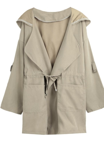 khaki l Jacken Mantel mit Kapuze feste Mantel lange Hülsen