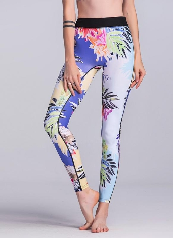 Pantalones pitillo de cintura alta mezclados impresión floral colorida de las mujeres polainas