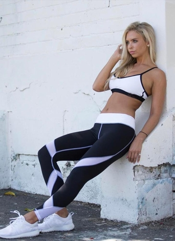 Femmes Yoga Leggings Sports Pantalon Mesh Insert Fitness Pantalons