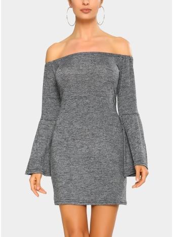 Elegant Women Mini Bodycon Dress Slash Neck Long Flare Sleeve Solid Color Party Dress