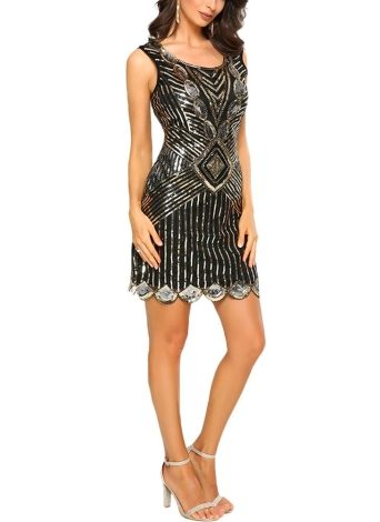 Sexy Women 1920's Sparkling O Neck mangas Backless Bodycon Sequin Dress