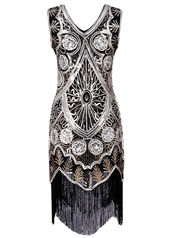 Sexy Women Tassel Fringe V-образным вырезом 1920-х годов Flapper Retro Bodycon Sequin Midi Dress