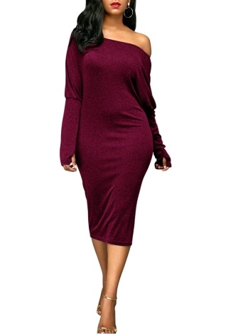 Sexy Off Shoulder Cut Out Bat Sleeves Solid Elegant Party Club Midi Dresses