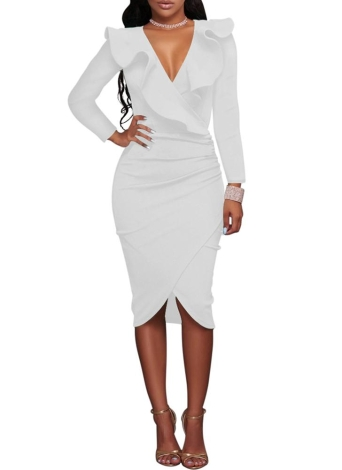 Tulip Criss Cross  Pencil Bodycon Ruffle Midi Dress