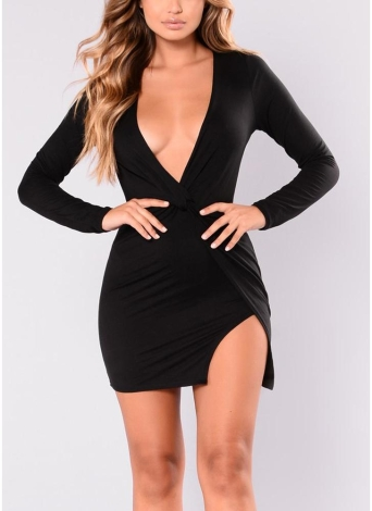Sexy Women Deep V-Neck  Knot Side Slit Mini Dress