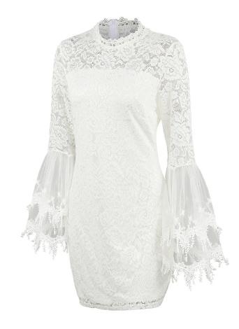 Floral Lace Flare Sleeve Elegant High Neck Bodycon Mini Dress