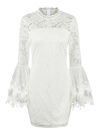 Floral Lace Flare Sleeve Elégante Col Haut Mini Bodycon Dress