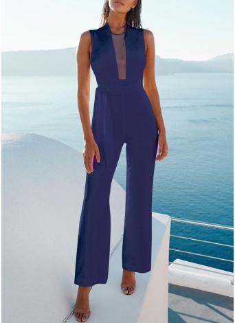 Sexy Frauen Plunge Sheer Mesh Jumpsuit