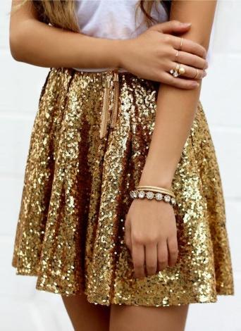 Falda de lentejuelas de oro de las mujeres de moda