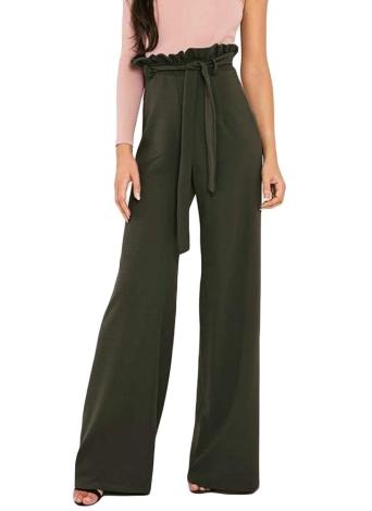 Femmes taille haute pantalons ceinture Ruffle Zip couleur unie Pantalon large