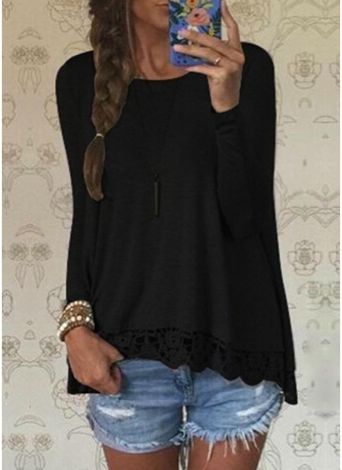 Fashion Women Casual T-Shirt Round Neck Long Sleeve Crochet Lace Splice Irregular Hem Top Tee