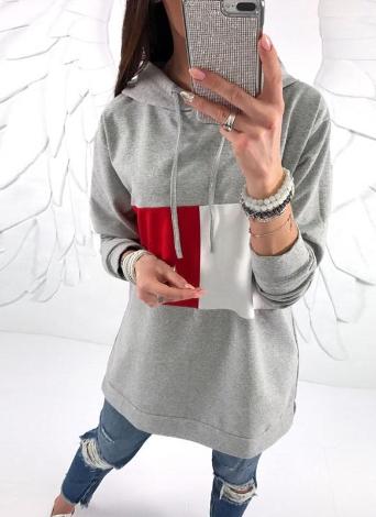Mode Frauen Hoodie Kontrast Farbe Block Lose Pullover Mit Kapuze Sweatshirts