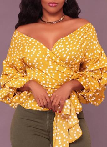 Women Dot Lantern Sleeve Ruffle  Shoulder V Neck  Blouse Shirts