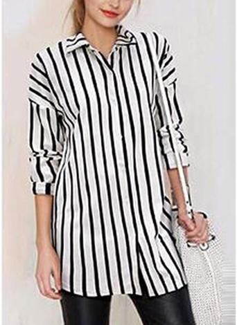 Camisa larga de manga larga con cuello abotonado a rayas