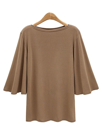 Mulheres Batwing Sleeve Plus Size O Neck 3/4 Sleeve T-Shirt