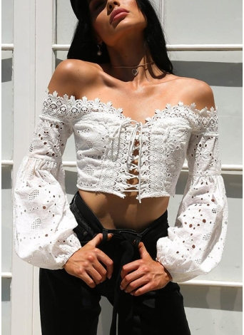 Fuera del hombro Crochet Lace Bandage Lace Up Hollow Out Crop Top