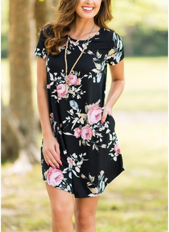 Floral Print O-Neck Short Sleeve Pocket Loose Elegant Mini Dress