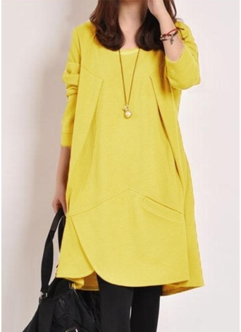 Women Loose Dress Solid Pocket Drape Irregular  Long Sleeve Casual One-Piece
