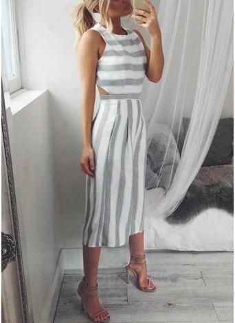 Sexy Women Stripe Sleeveless Backless Zipper Shirred Wide Leg Playsuit Jumpsuit