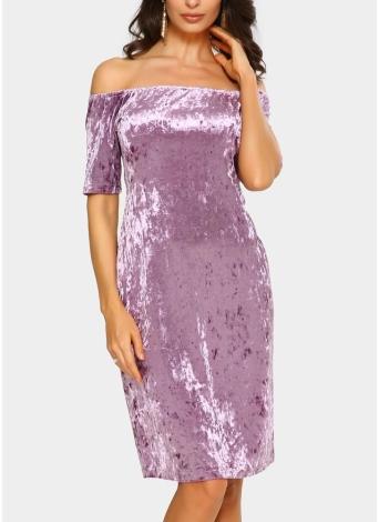 Сексуальное женское бархатное платье с плеча Slash Neck Party Night Club Bodycon Sheath Элегантное платье