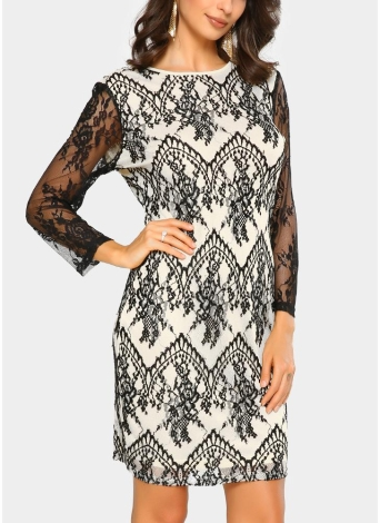 Sexy Women Floral Sheer O-Neck Long Sleeve Zip Mini Lace Pencil Dress