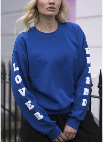 Fashion Women O Neck Long Sleeve Pullover Plus Size Loose Sweatshirts