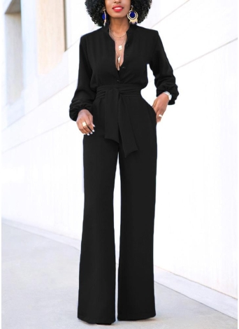 Women Jumpsuit Solid Color Stand Collar Long Sleeve Buttons High Elastic Waist Tie Wide Legs Party Wear