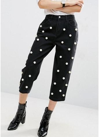 Women Pearls Denim Jeans Straight Pants High Waist Zipper Fly Casual Trousers