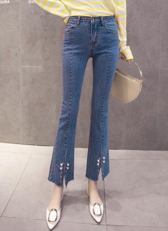 Mode femmes taille haute Peal Flare Zipper Button Split Hem Jeans Slim Denim