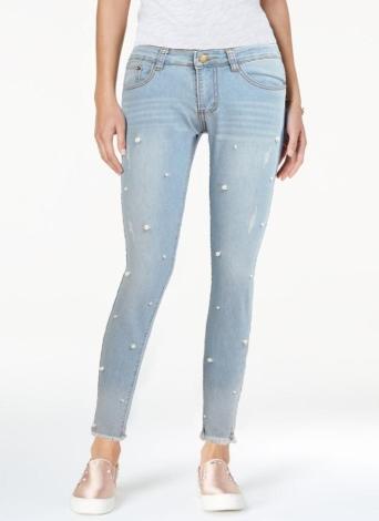 Boho Femmes Lavé Denim Perles Faux Perle Tassel Frayé Zipper Mi Taille Skinny Casual Crayon Jeans