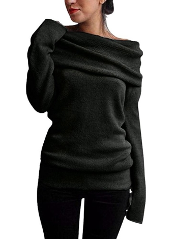 Mulheres fora do ombro Sweater Lã Cowl Neck manga comprida malha Pullover