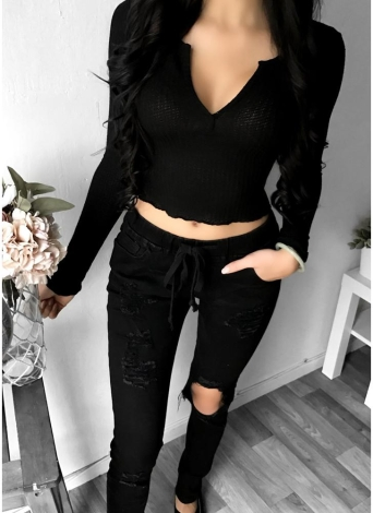 Sexy Women Crop Top Deep V Long Sleeves Solid Color Cropped Top Tees Pullovers