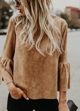 Women Suede Flare Sleeves O-Neck Elegant Top Blouse