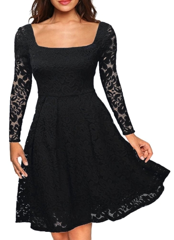 Floral Lace Long Sleeves Slash Neck A-Line Vestido