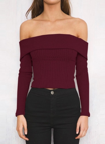 Femmes Slim Off The Shoulder manches longues en tricot solide chandail