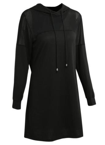 Sexy Women Hooded Dress Sheer Mesh Solid Long Sleeve Elegant Party Club Hoodies Dresses