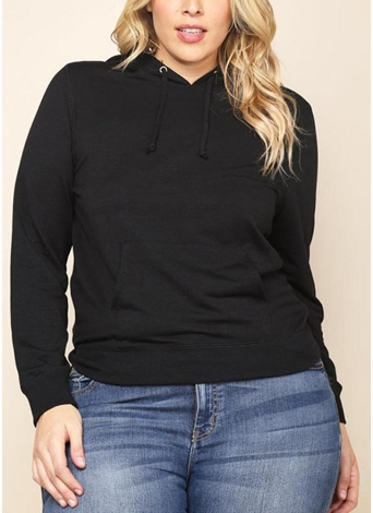 Sudadera de tallas grandes para mujer Sudadera de manga larga con bolsillos de manga larga con capucha y cordón sólido con capucha