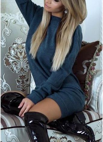 Women Casual V Backless Dress Eyelash Lace Splice Long Sleeve O Neck Mini Dress