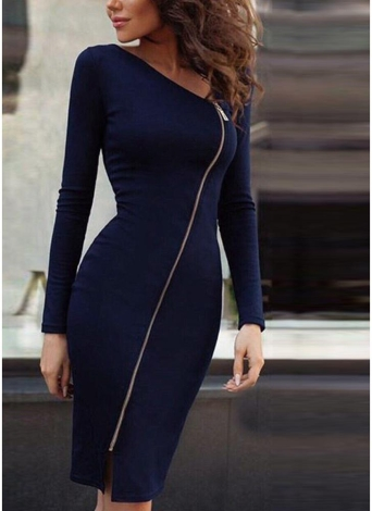 Sexy Women Bodycon Dress Irregular Neck Long Sleeve Front Zipper Slit Party Bandage Pencil Dress Clubwear