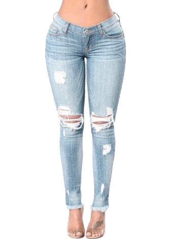 Women Ripped Jeans Bodycon Denim Destroyed Frayed Hole Casual Pants