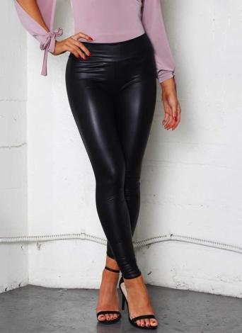 Las mujeres atractivas Pu Wet Look imitación cuero polainas elásticas cintura elástica de alta subida pantalones flacos