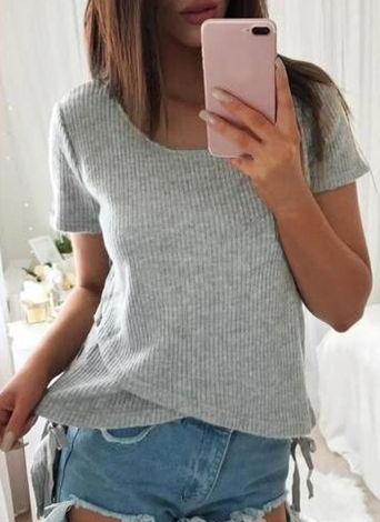 Sexy Women Tricotado Sweater Cross Lace Up Bandage High-Low Hem Slim Tops Tee Pullover Knitwear