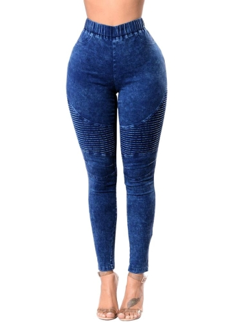 Mulheres Jeans magros Denim Cintura alta Elastic Washed Ruched Skinny Pencil Calças Calças Leggings