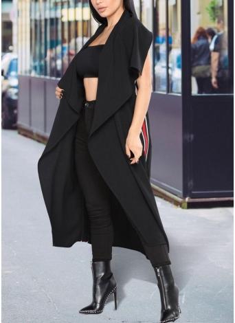 Abrigo de mujer Abrigo sin mangas Cinturón de rayas sin mangas Turn-Down Collar Abrigo largo Casual informal Abrigo largo