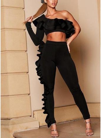 Conjunto de dos piezas sexy volantes asimétrico un hombro crop top pantalones de cintura alta traje trajes