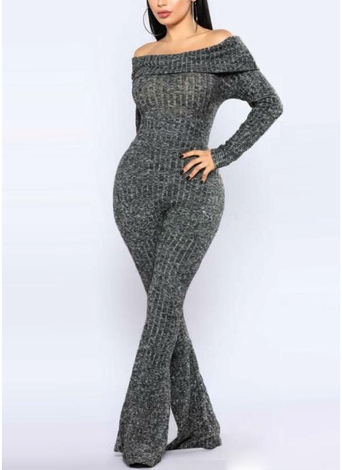 Mono largo Bodycon Off the Shoulder Long Sleeves Flare largo mameluco