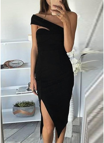 Sexy Femmes Moulante De La Robe D'épaule Split Slash Cou Sans Manches Slim Club Mini Dress